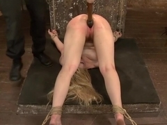 Two Gorgeous Blonde Rope Sluts Made to Orgasm in Rough Bondage