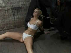 Elbows bound, spread on the floor, made to cum over and over Crotch rope double bind. Ouchy!