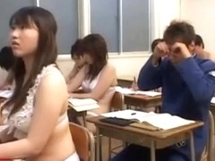 sweet japanese ladies in classroom just in their sweet lingerie