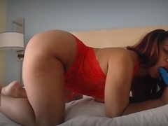 Big Booty BrandyAllure gives BJ tease in Red Lingerie
