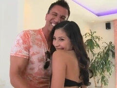 Amazing brunette in stockings Nicole Ferrera and her fucker Marco Banderas