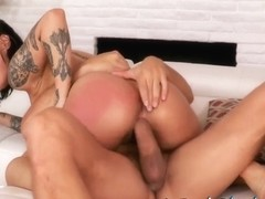 Honey Gold - Tattooed Black Babe Oozes Cum From Pussy