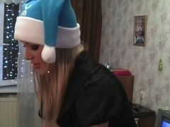 Christmas hardcore sex with cum on her a-hole