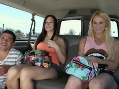 Hot threesome with some amateurs on BangBus