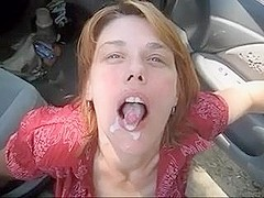 Car oral-service fun and sperm flow with a mature I'd like to fuck