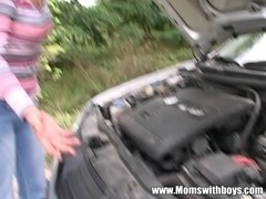 Car Trou### Granny Pays Dues By Getting Fuck