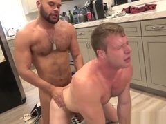 Hunk assfucked bareback from behind by bear