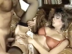 Christy Canyon in heels and stockings fucked