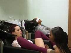 Sabina Rouge and Sarah Banks are making love in a hair studio, while no one is watching