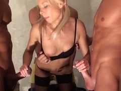 Teen blonde in stockings Dulsineya gets fucked by a group of ex boyfriends