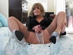 Hottest amateur shemale video with Stockings, Masturbation scenes