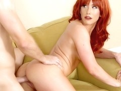 Red haired cock teaser, Jennifer White is bouncing up and down while riding a hard dick