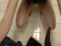 Pov college teen blows in public toilet