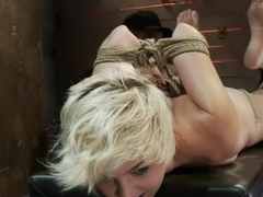 Chloe is into her 3rd scene from the Nov Live showBrutal Hogtied suspension while making her cum