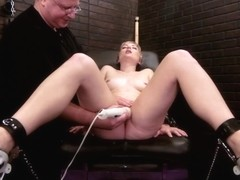 Gorgeous Blonde is fucked by sex machine with dildo