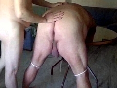 Fat gay is tied and spanked by his amateur boyfriend