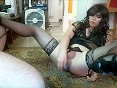 Sexy Amateur CD Sitting On Hard Cock
