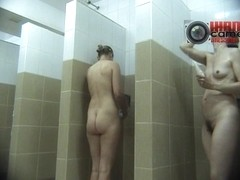 Sexy girls with trimmed pussies in the shower