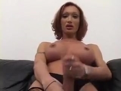 Hottest Amateur Shemale movie with Stockings, Masturbation scenes