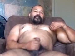 Latin muscle daddy jerk off   cum in chair
