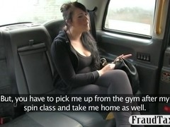 Big tits amateurcustomer sucks and fucked in the backseat