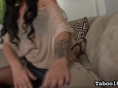 Ezmie's Stepbrother Gives a Foot Job Lesson