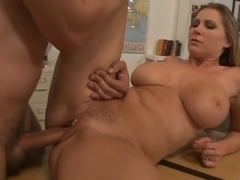 Sexy teacher Devon Lee gives a thumbs up to her student for a pussy pounding