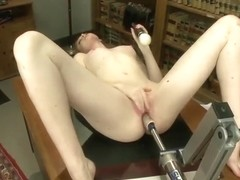 Red haired chick fucked by fuck machine
