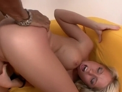 Buxom blonde Shawna Lenee fucks a black rod and screams with pleasure
