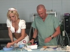 Natural blonde dressed as nurse sucks her patient's rod