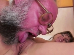 Petite European Teen Facialized By A Grandpa