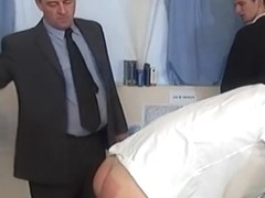 Naughty schoolboys get spanked in detention