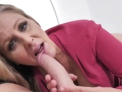 Amazing, blonde woman with blue eyes, Julia Ann is sucking cock like a real pro whore