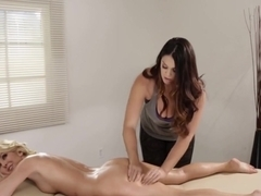 Busty Masseuse Scissoring With Lesbo Babe
