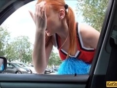 Cheerleader teen Eva Berger hitchhikes and fucked in public